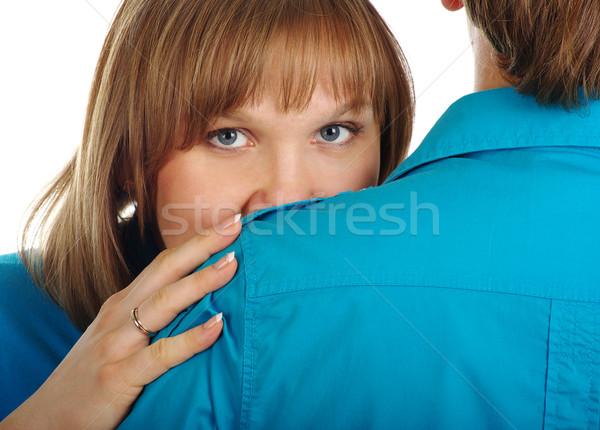 Mulher atrás homem ombro isolado branco Foto stock © pekour