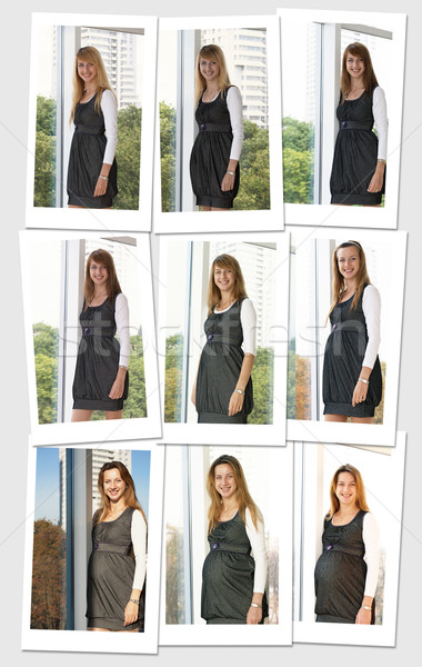 Dokuz portreler hamile kadın gülümseme genç gebelik Stok fotoğraf © pekour