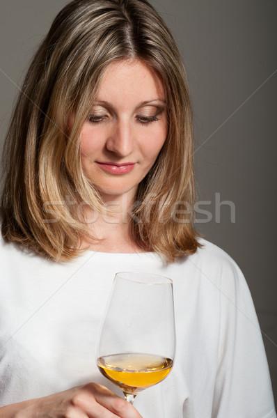 женщину белое вино блузка вино пить Сток-фото © pekour
