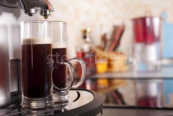 Dois café café expresso máquina cozinha doméstico Foto stock © pekour