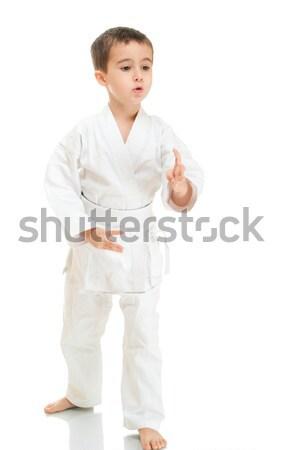 Aikidó fiú harcol pozició fehér kimonó Stock fotó © pekour