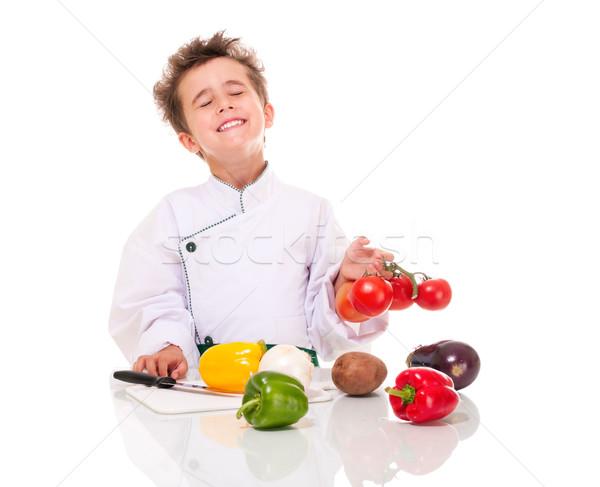 Kicsi fiú szakács egyenruha kés főzés Stock fotó © pekour