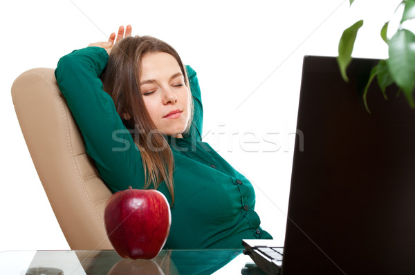 Woman relaxing in the office workplace Stock photo © pekour