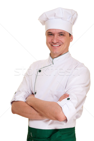 Photo stock: Souriant · chef · homme · uniforme · isolé · blanche