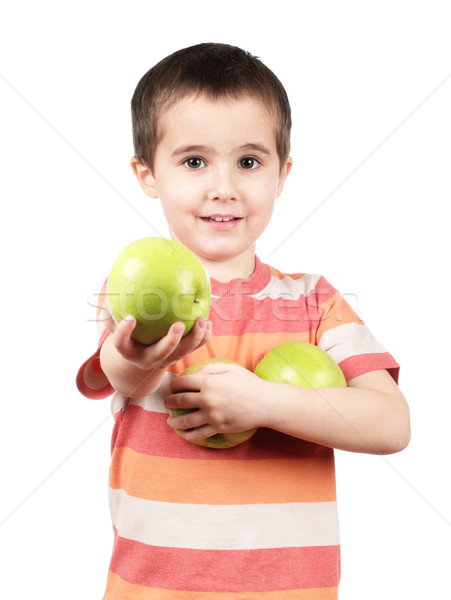 Gülen erkek elma küçük yalıtılmış beyaz Stok fotoğraf © pekour