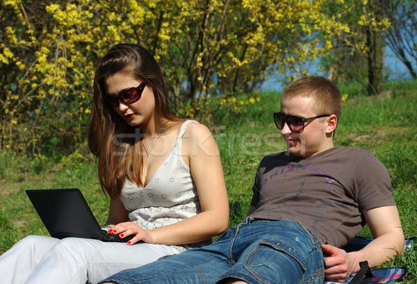 Netbook'lar açık havada bahar çayır bilgisayar Stok fotoğraf © pekour