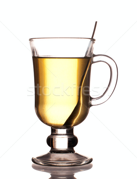 Glass of green tea with spoon  Stock photo © pekour