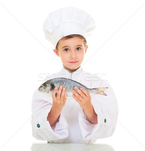 Stok fotoğraf: Küçük · erkek · şef · üniforma · balık