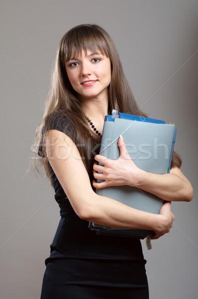 Escritório mulher vestido preto empacotar Foto stock © pekour