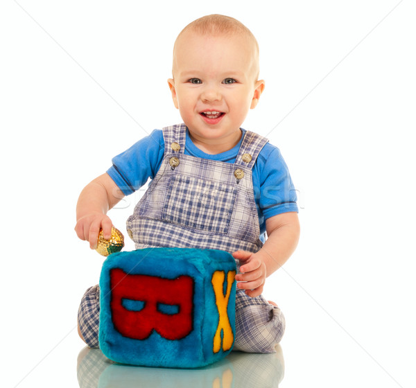 Happy little boy in overall Stock photo © pekour
