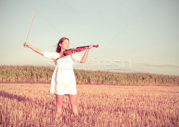 Young woman holding violin and bow outdoors. Split toning. Stock photo © pekour
