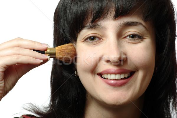 Photo stock: Belle · femme · up · isolé · blanche · souriant · visage