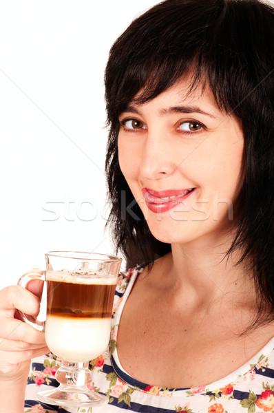 Stok fotoğraf: Kadın · dudaklar · portre · yalıtılmış · beyaz