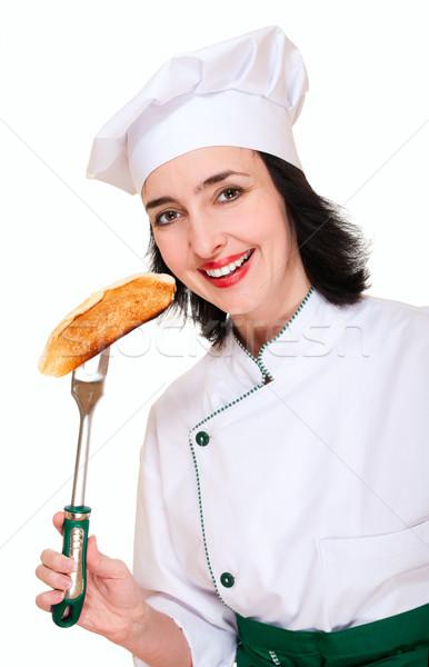Bela mulher chef uniforme brinde isolado branco Foto stock © pekour