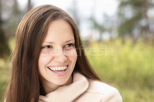 Foto stock: Mulher · jovem · ao · ar · livre · verde · prado · bela · mulher · sol