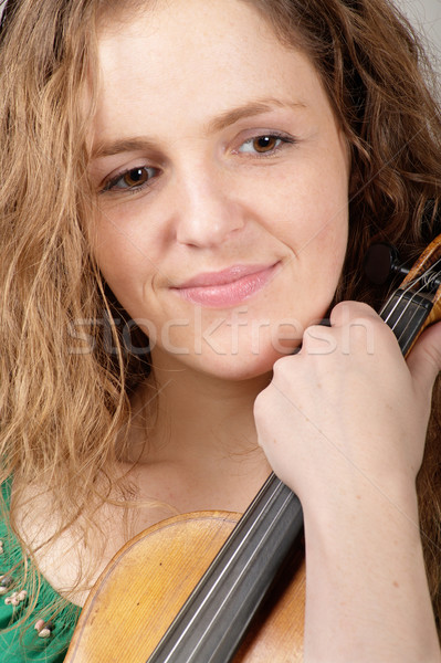 Sadly smiling woman with violin Stock photo © pekour
