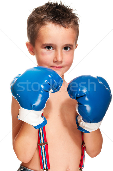 Little bully boy with black eye in boxing gloves wet Stock photo © pekour