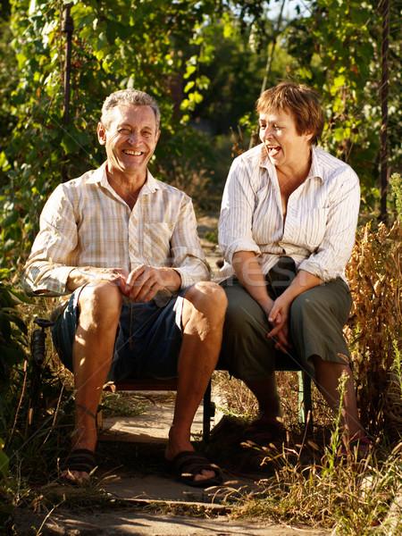 Photo stock: Heureux · couple · de · personnes · âgées · séance · jardin · femme · vert