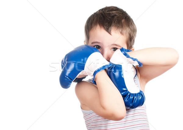 Kicsi kínos boxoló fiú tank felső Stock fotó © pekour