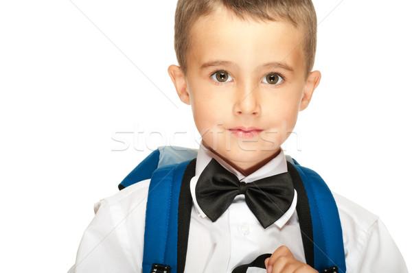 Portre erkek sırt çantası yalıtılmış beyaz Stok fotoğraf © pekour