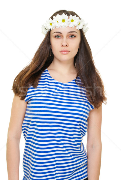 Girl in camomile wreath and sailor singlet Stock photo © pekour