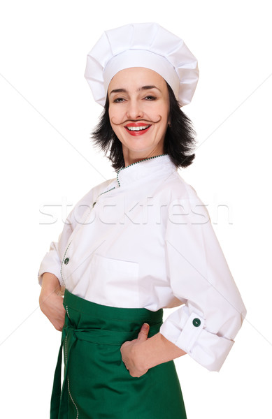 Happy woman in chef's costume with painted mustaches Stock photo © pekour