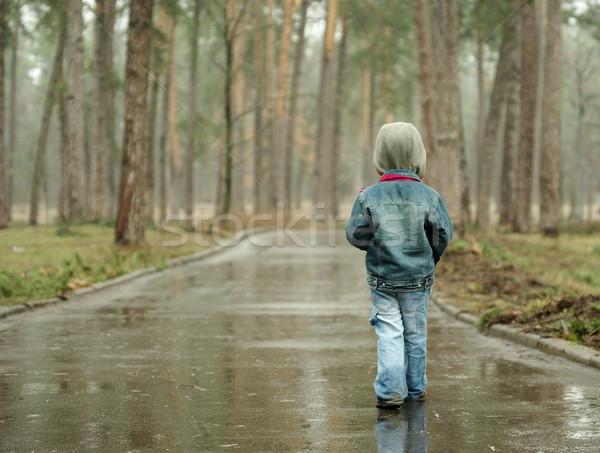 長い 雨の 道路 少年 ストックフォト © pekour