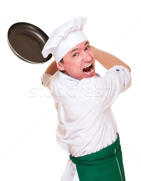 Angry chief in hood threaten by pan Stock photo © pekour