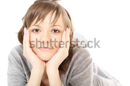 Gyönyörű fiatal nő sport lakosztály padló izolált Stock fotó © pekour