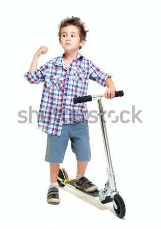 Stock fotó: Huncut · szőrös · kicsi · fiú · rövidnadrág · póló