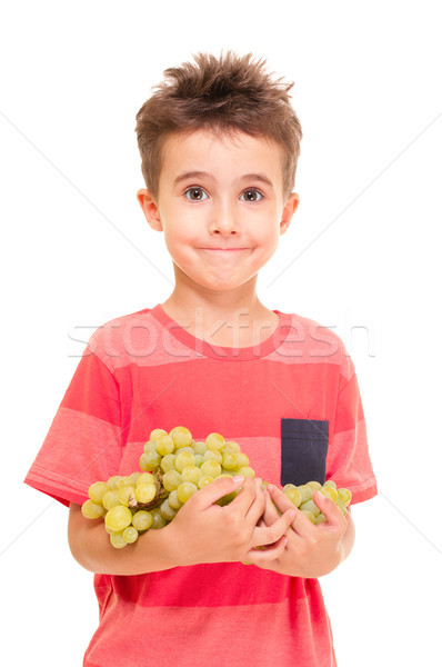 Little boy with bunch of grapes Stock photo © pekour