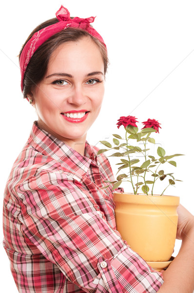 Beautiful happy housewife in kerchief with flower pot Stock photo © pekour