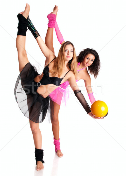 Two girls ballet dancers stretching Stock photo © pekour