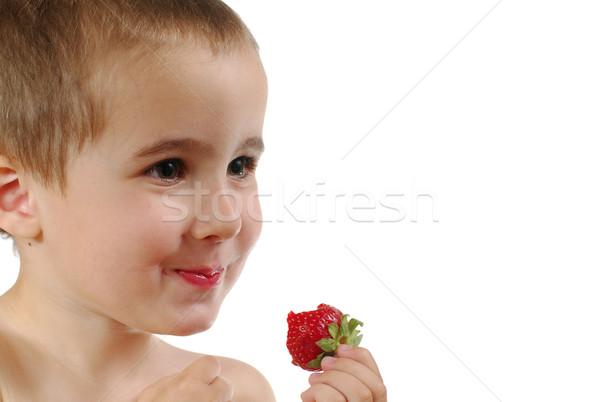Pequeno menino morango isolado branco Foto stock © pekour