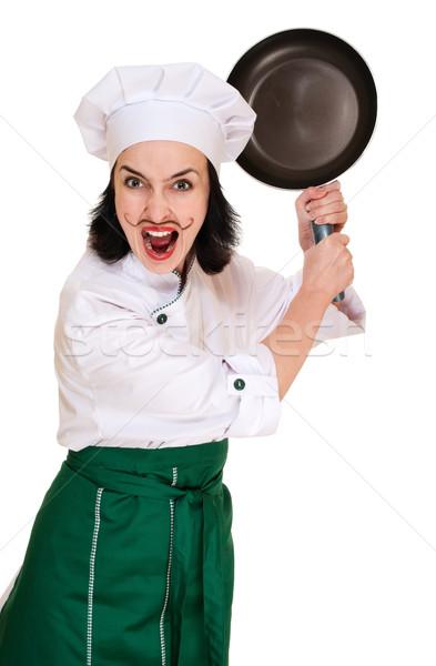 Arrabbiato donna capo pan ristorante divertimento Foto d'archivio © pekour
