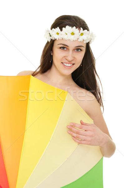 Mulher jovem camomila coroa colorido guarda-chuva isolado Foto stock © pekour