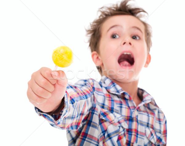 Foto stock: Pequeño · gritando · excitado · nino · mano · aislado