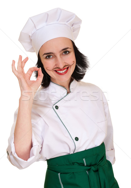 Belle femme chef uniforme signe isolé Photo stock © pekour