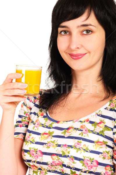 Portrait femme jus d'orange verre sourire visage Photo stock © pekour
