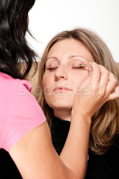 Makyaj güzellik sarışın kadın kız yüz kadın Stok fotoğraf © pekour