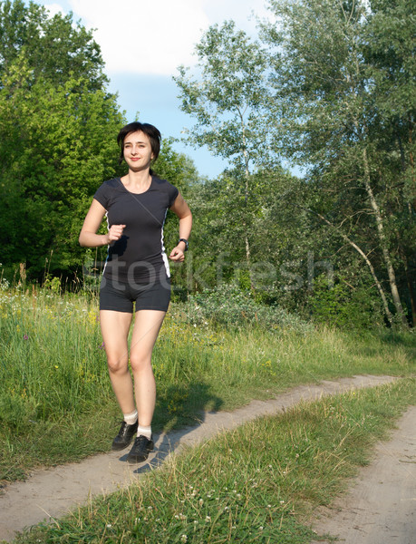 Foto d'archivio: Donna · jogging · esterna · foresta · estate · ragazza
