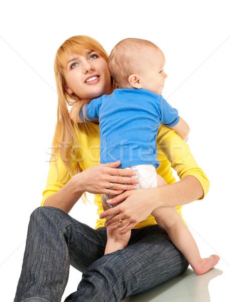 Anya fiú átölel izolált fehér gyermek Stock fotó © pekour