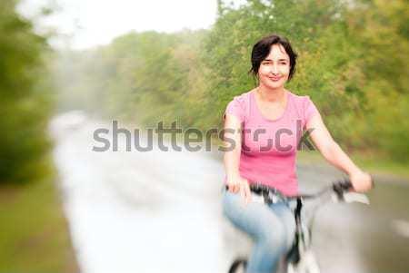 женщину верховая езда велосипедов лет лес дороги Сток-фото © pekour