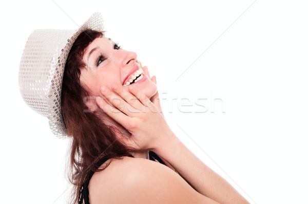 Lachend meisje disco hoed geïsoleerd witte Stockfoto © pekour