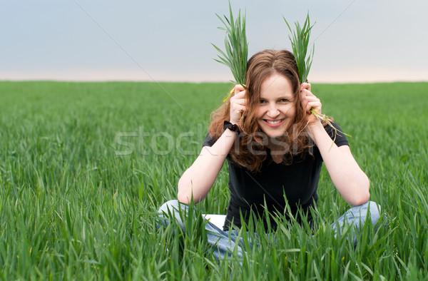 Kadın yeşil alan yaz Stok fotoğraf © pekour