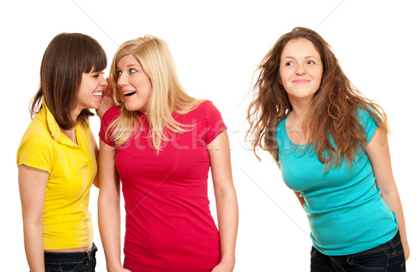 Mujer chismes dos mujeres aislado blanco jóvenes Foto stock © pekour