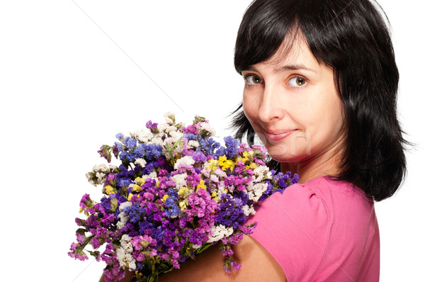 Portrait of woman with bouquet of field flowers Stock photo © pekour