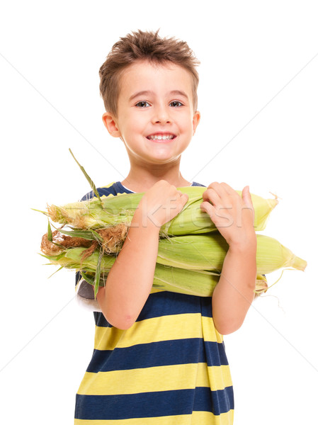 Little boy holding corn on the cob Stock photo © pekour