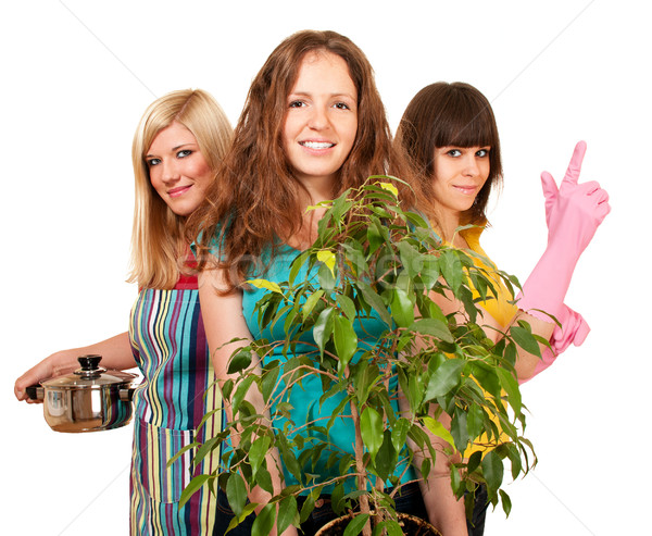 Stock photo: Three beautiful houswives brunette, blonde and redhead