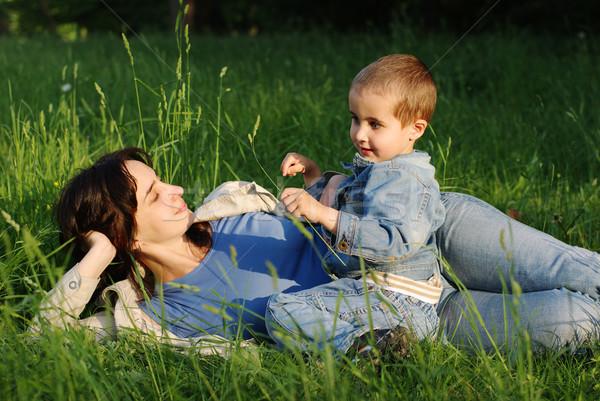 Mãe filho ao ar livre feliz pôr do sol criança Foto stock © pekour